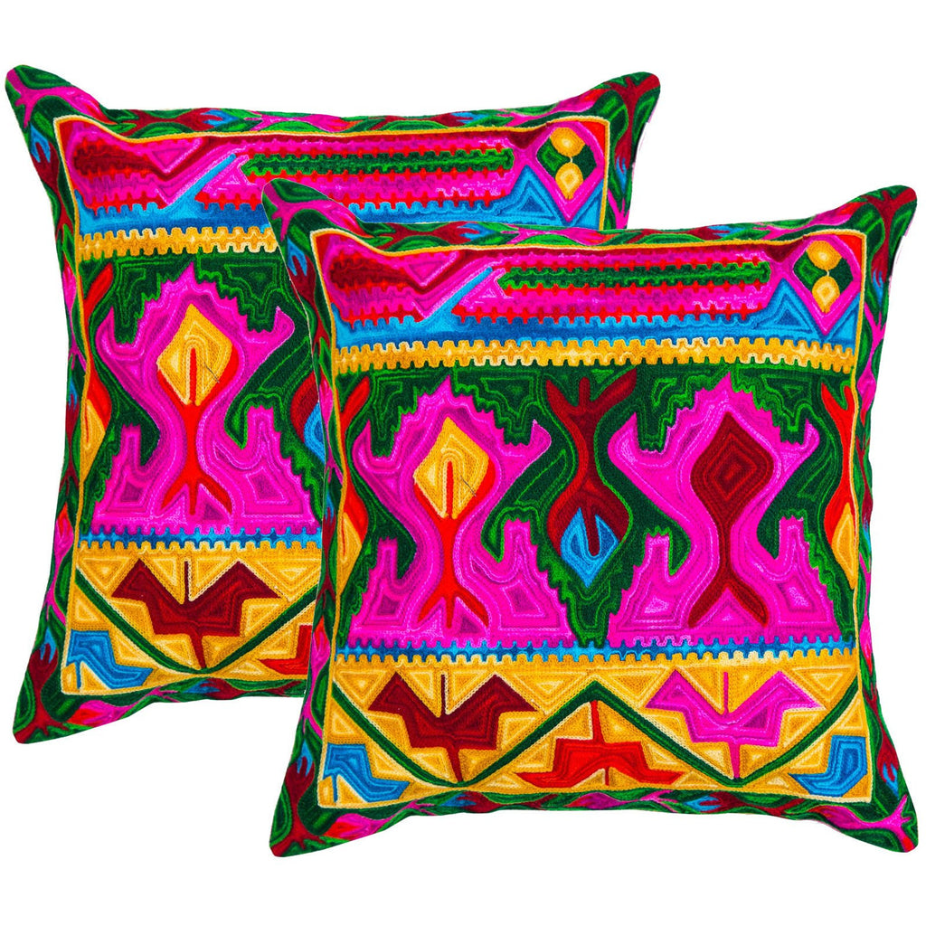 Multicolored Aztec Pattern Embroidered Crewel Stitch Cushion 40 X 40 / Multicolored - Melange Chic - 1