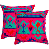Multicolored Aztec Pattern Embroidered Crewel Stitch Cushion 40 X 40 / Fuscia & Blue - Melange Chic - 2