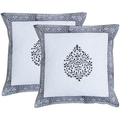 Black Fern Leaf Block Print Accent Cotton Throw Pillow  - Melange Chic
