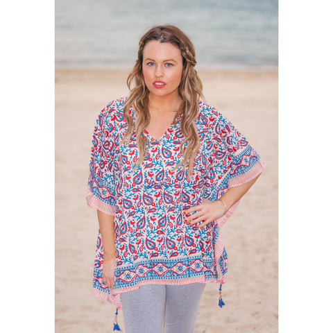 Red, Blue & White Paisley Cotton Kaftan