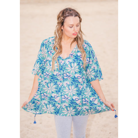 Blue & White Floral Cotton Kaftan