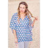 Blue & White Motif Cotton Kaftan