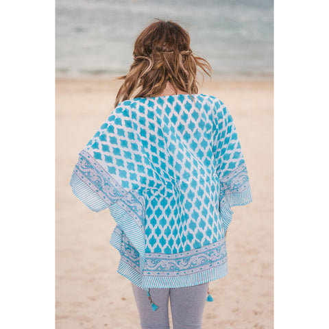 Blue & White Cotton Kaftan