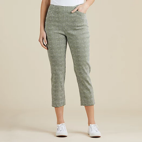 Print Cropped Pants - Khaki