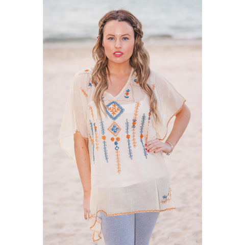 Cream Embroidered Linen Kaftan