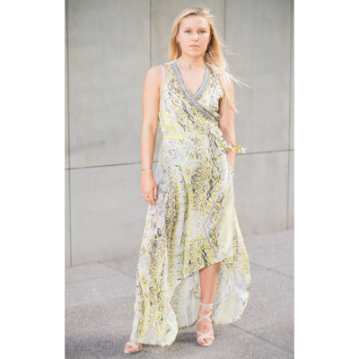 Yellow Silk Patterned Wrap Dress Long