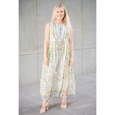 Yellow Silk Patterned Dress Long