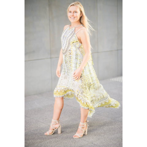 Yellow Patterned Tapered Frill Hem Long Dress