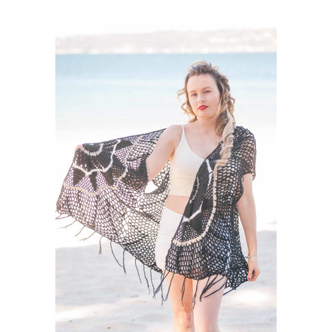 Black & White Crochet Coverup
