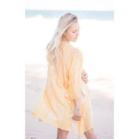 Yellow Motif Fringe Cotton Kaftan