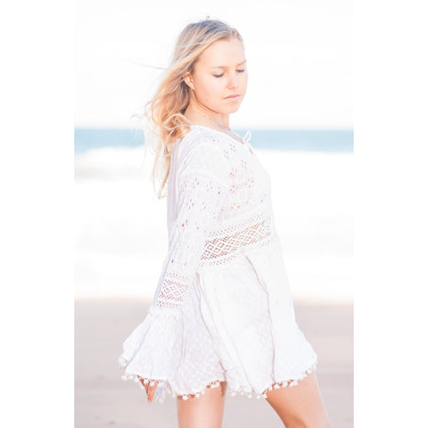White Pompom Fringe Trim Cotton Kaftan