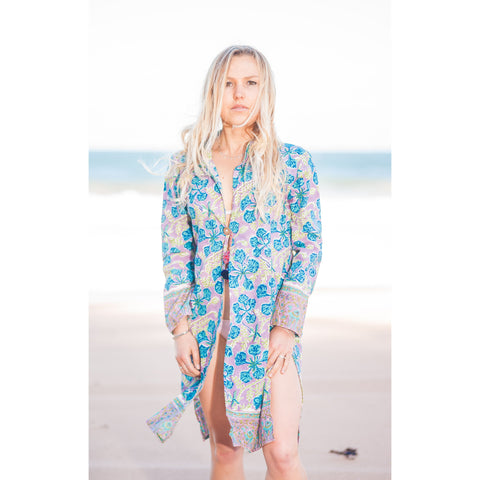 Pink & Blue Floral Cotton Kaftan