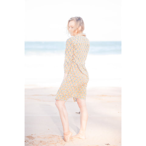 Mustard Motif  Cotton Kaftan / Dress