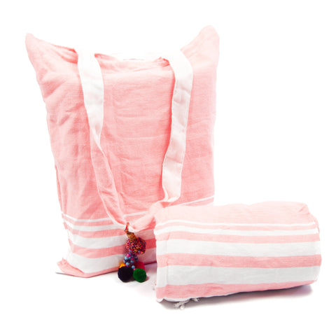 Kikoy with Matching bag in Pink Block Colour