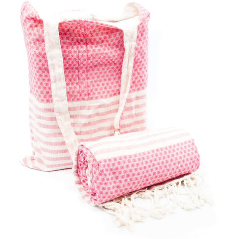 Kikoy with Matching bag in Checker Red Colour