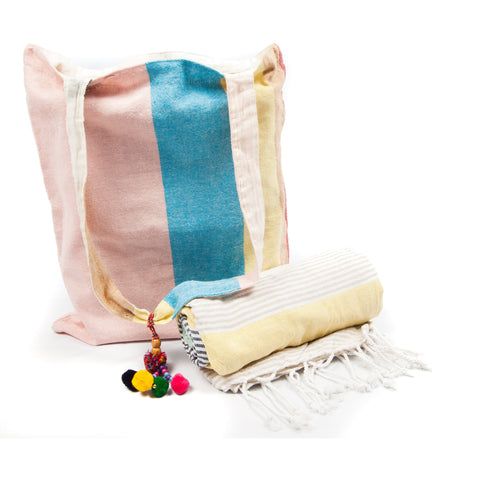 Kikoy with Matching bag in Multi Colour