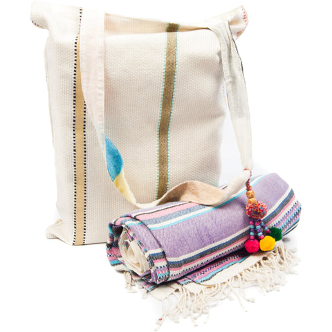 Kikoy with Matching bag in Lilac Colour