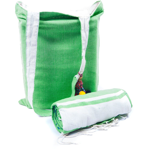 Kikoy with Matching bag in Green Colour