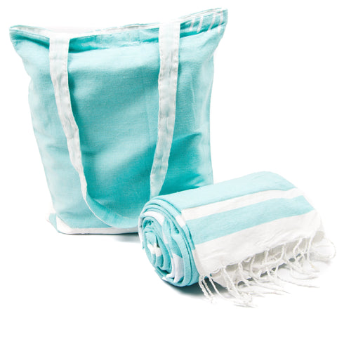 Kikoy with Matching bag in Teal Colour