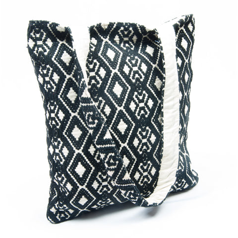 Woven Diamond Shape Fabric Blue Beach Tote
