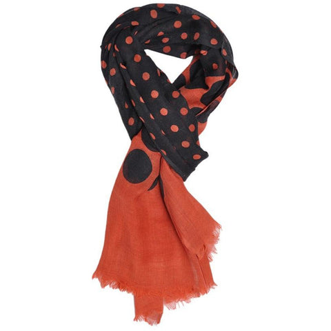 Orange Polka Wool Lightweight Scarf