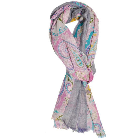 Pink and Grey Paisley Wool Lightweight Scarf
