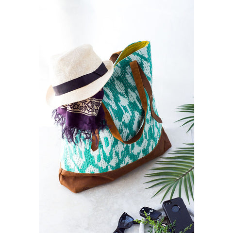 Sea Green Ikat Kantha and Leather Tote