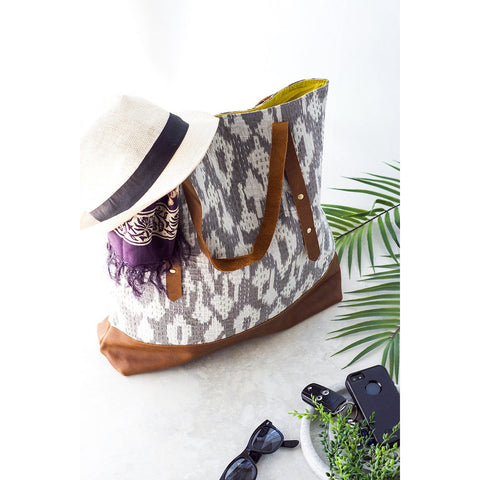 Grey Ikat Kantha and Leather Tote