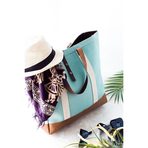 Canvas Blue Beach Bag