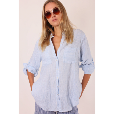 Hut - Blue Stripe Linen Boyfriend Shirt