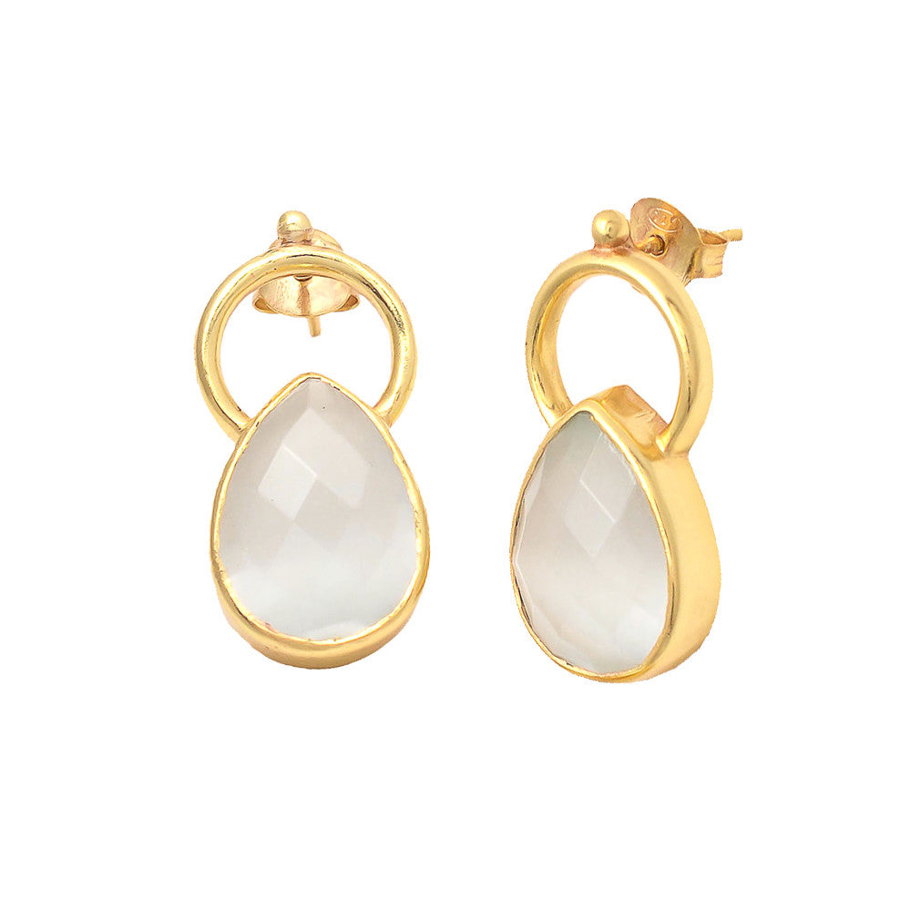 Reem Tear Drop Gemstone Earrings Moonstone - Melange Chic - 1