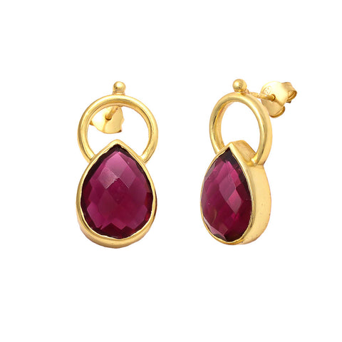 Reem Tear Drop Gemstone Earrings Rose Tourmaline - Melange Chic - 3
