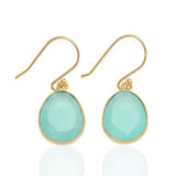 Elba - Gold Vermeil and Rose Tourmaline Hydro Earrings Aqua Chalcedony - Melange Chic - 3