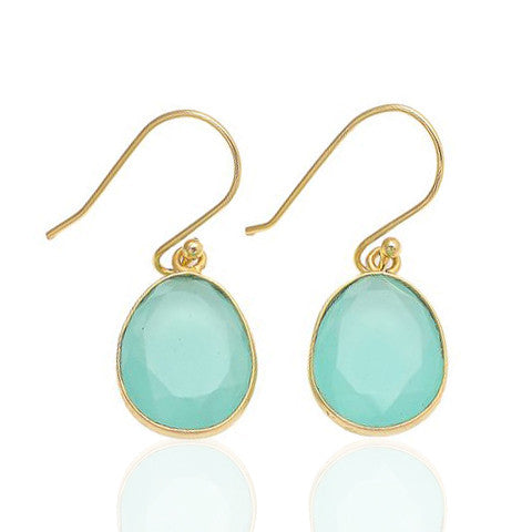 Elba - Gold Vermeil and Aqua Chalcedony Earrings Aqua Chalcedony - Melange Chic - 1