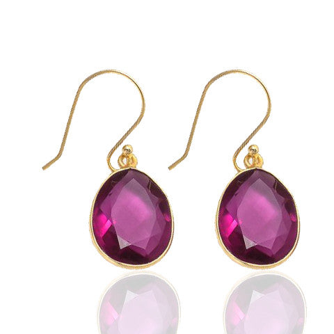 Elba - Gold Vermeil and Rose Tourmaline Hydro Earrings Rose Tourmaline - Melange Chic - 1