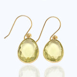 Elba - Gold Vermeil and Rose Tourmaline Hydro Earrings Green Amethyst Hydro - Melange Chic - 2