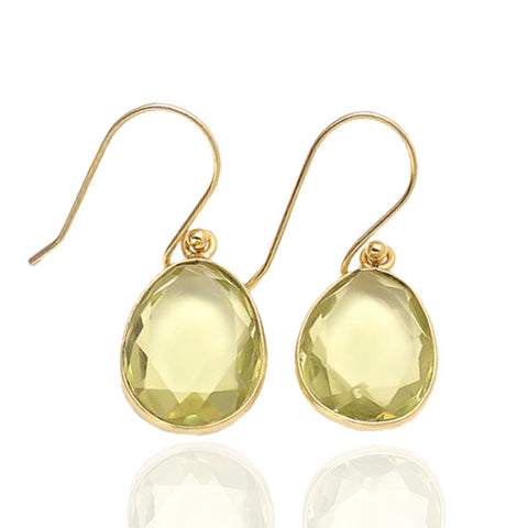 Elba - Gold Vermeil and Green Amethyst Hydro Earrings Green Amethyst Hydro - Melange Chic - 1