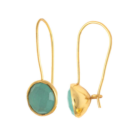 Drop Stud - Gold Vermeil & Aqua Chalcedony Earrings Aqua Chalcedony - Melange Chic - 1