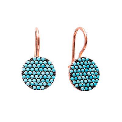 Round Lapis Pave Set Earrings in Rose Gold