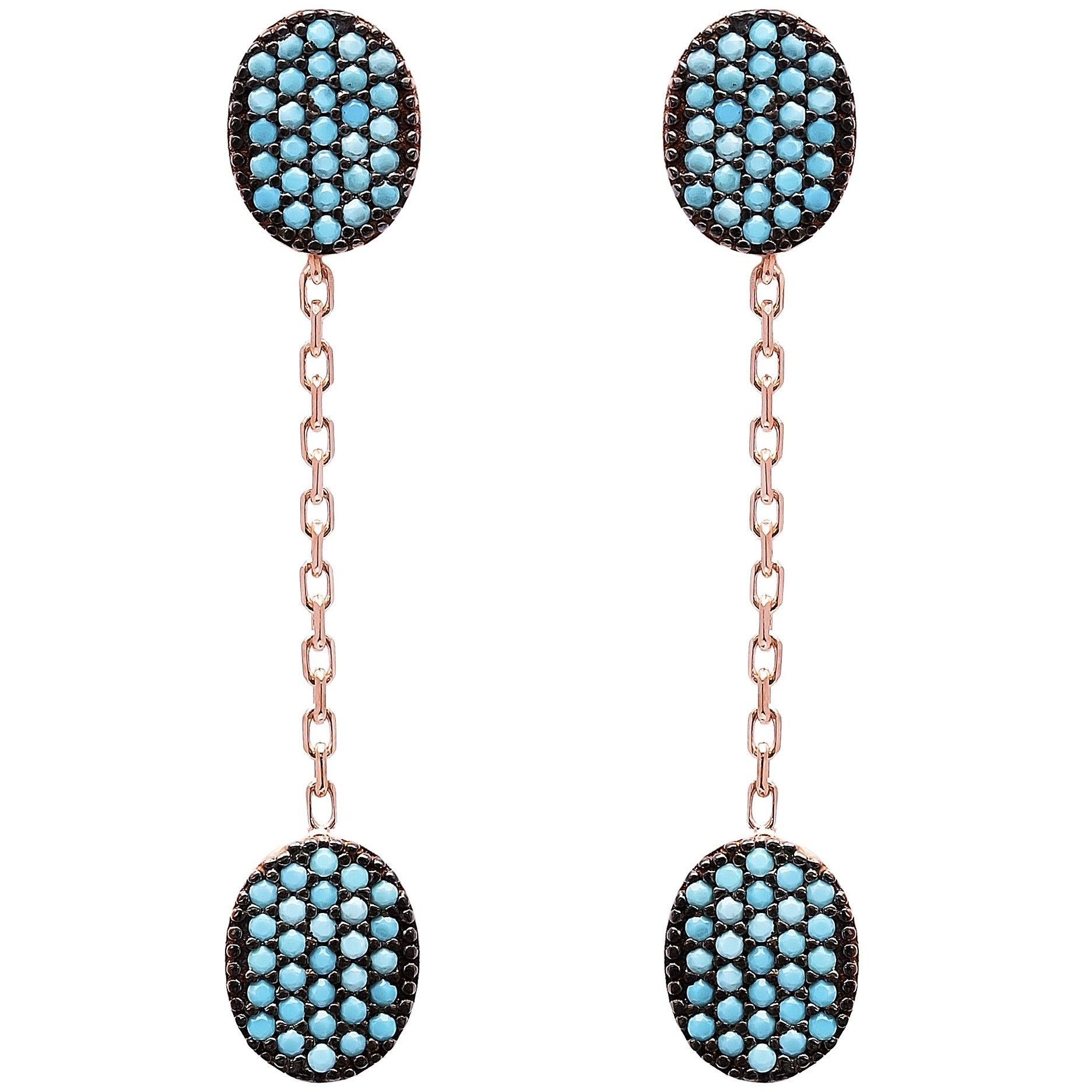 Dual Hanging Lapis Pave Set Earrings in Gold