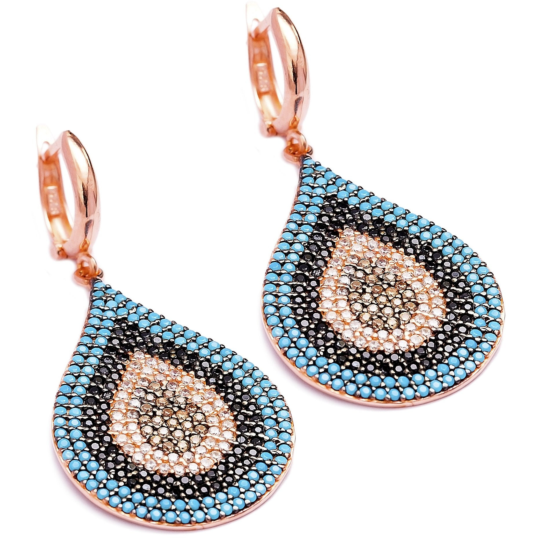 Teardrop Multi Stone Lapis pave set Earrings in Rose Gold