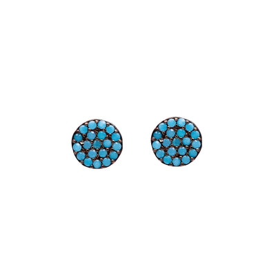 Round Lapis Pave Set Stud Earrings in Oxidised Silver