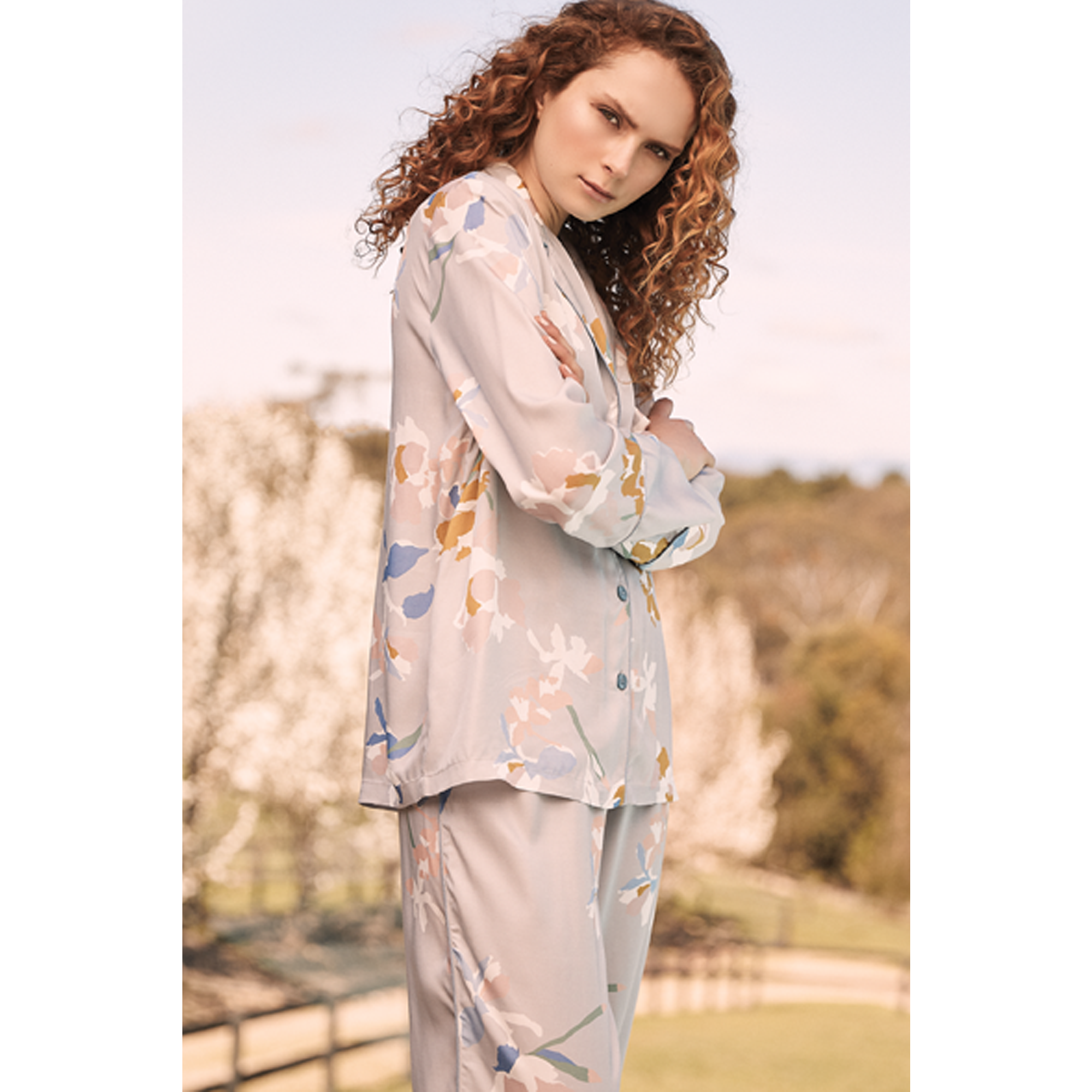 Gingerlilly Grey printed viscose pj set