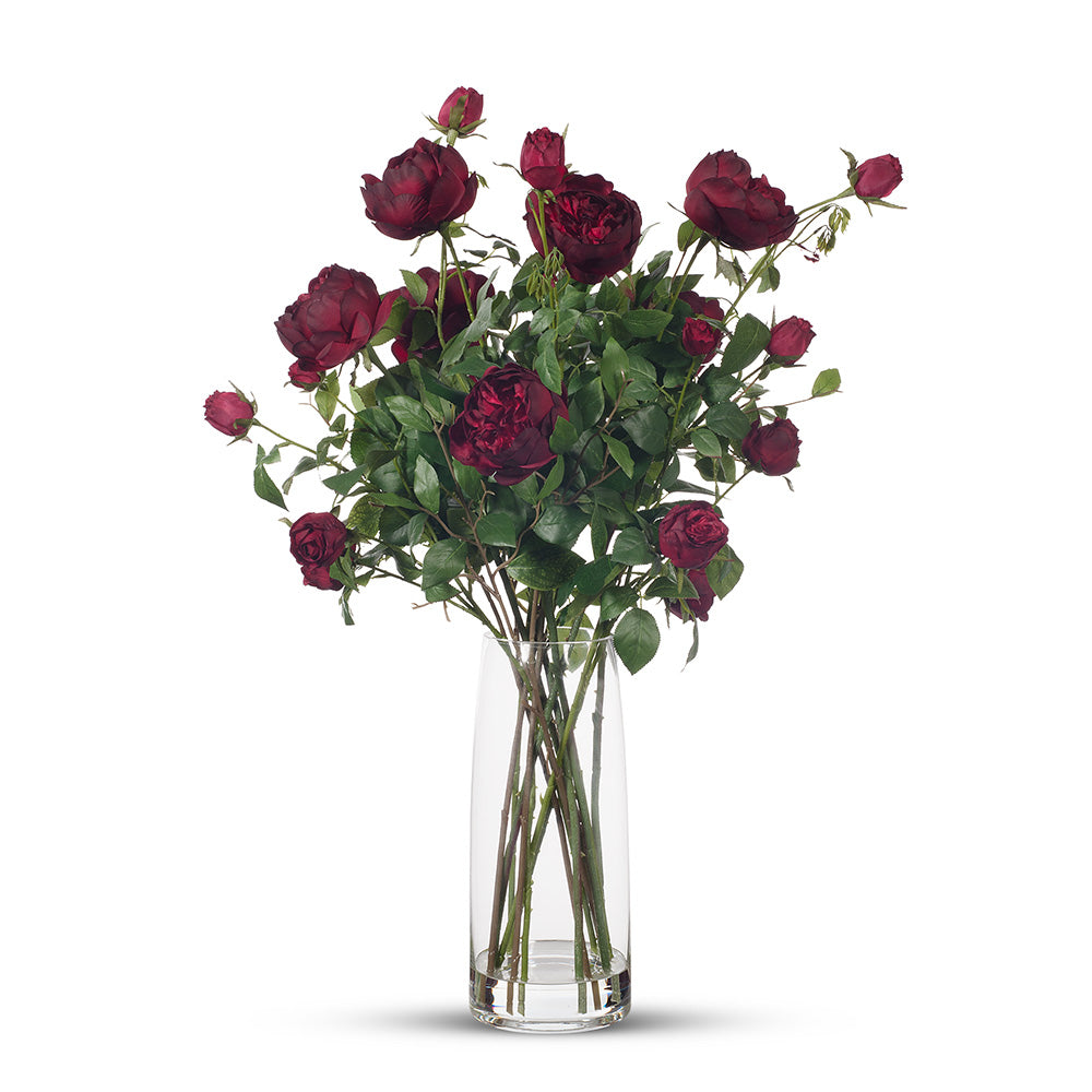 English Rose in Vase - Deep Red