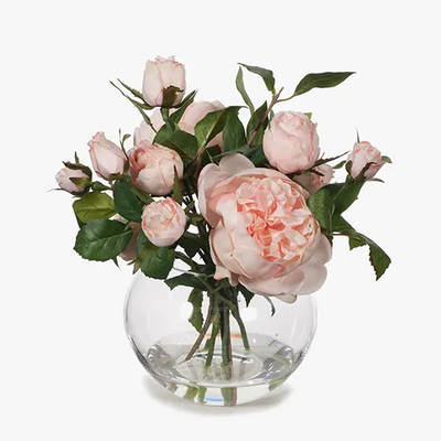 English Rose in Vase - Light Pink