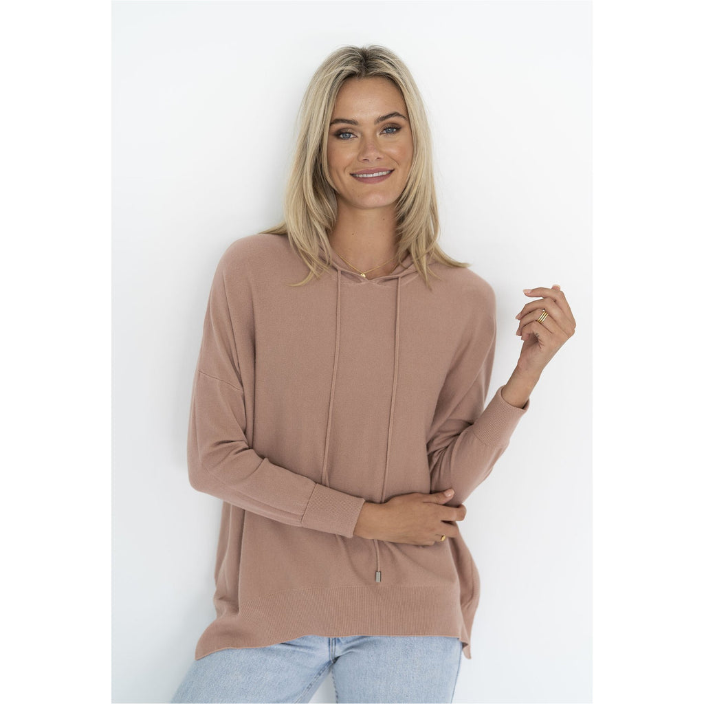 Humidity - Faith Knit Hoodie Deep Blush