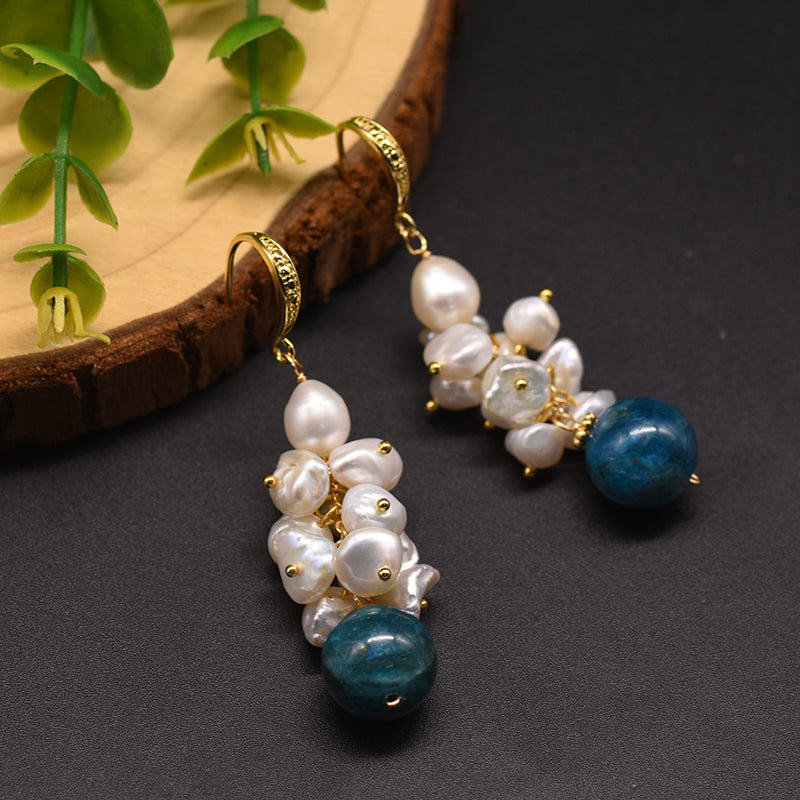 Natural Fresh Water Pearl Dangle Earrings Handmade with Kyanite Drop Earrings