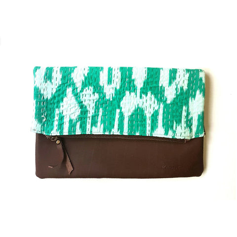 Leather and Sea Green Kantha Foldover Clutch