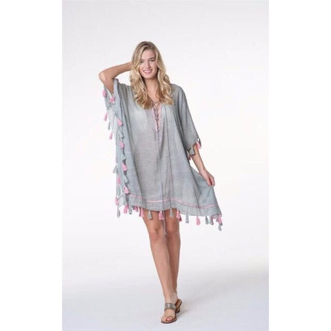 Grey Linen Cotton Kaftan