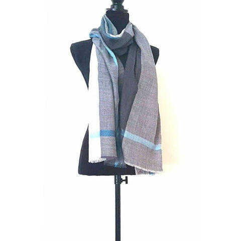 Grey and Teal Cashmere Wool Scarf